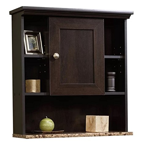 Millersburg Wood Wall Mounted Cabinet With Shelves, Antique Brass Handles, Cinnamon Cherry Finish