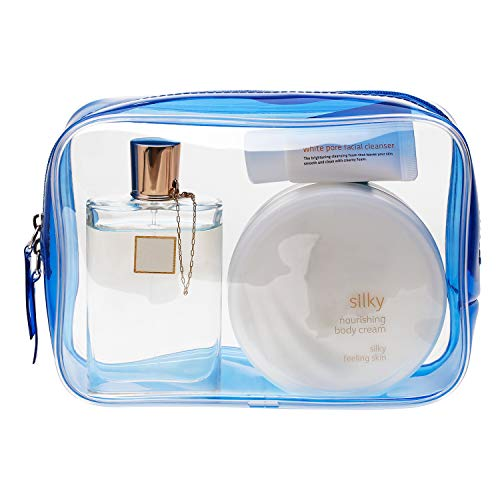 Pangda 5 Pack Clear PVC Zippered Toiletry Carry Pouch Portable Cosmetic Makeup Bag for Vacation, Bathroom and Organizing (Small, Blue)