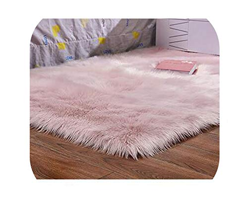 Faux Sheepskin Chair Cover 15 Colors Warm Hairy Wool Carpet Seat Pad Long Skin Fur Plain Fluffy Area Rugs Washable,Pink,40cm x 40cm
