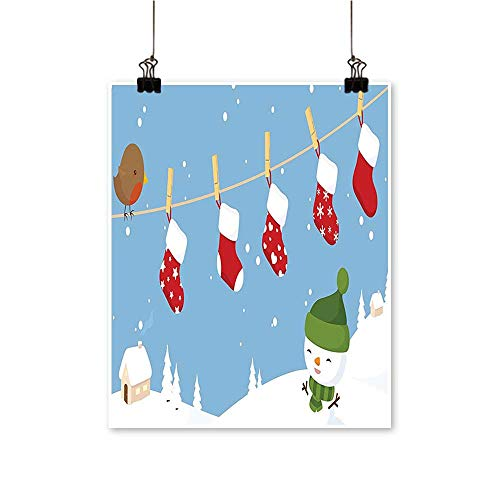for Home Decoration Little Bird and Christmas Socks Hanging on Clothesline Snowy Kids Cartoon Print White for Home Decoration No Frame,32