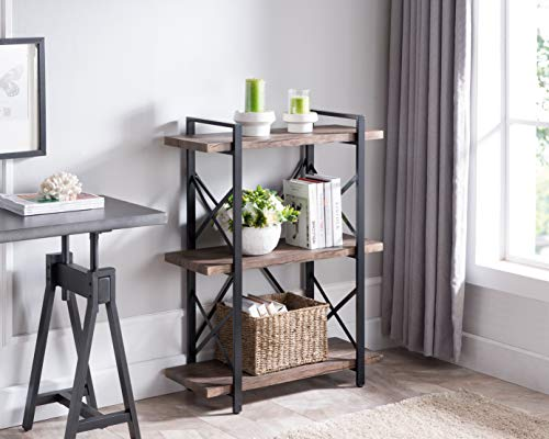 - None Vintage Dark Brown/Black Metal 3-Tier Bookcase Bookshelf Shelf Storage with X-Design