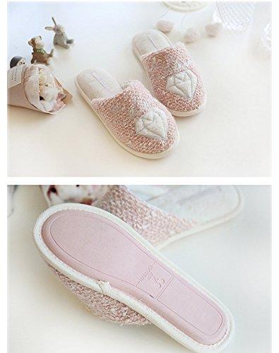 Peluche Mignon Pantoufles Femmes B Pink House Slippers Anti Chaud Chaussons Shoes Hiver Ours dérapant rZwwdqt