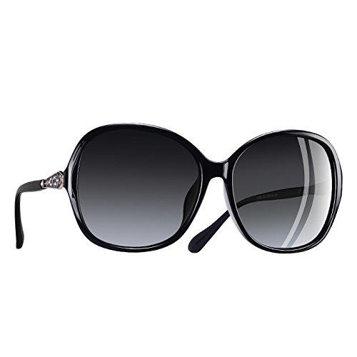 gafas lentes de TIANLIANG04 gafas Classic polarizadas Frame C5 Fuzzy Rhinestone mujer sol C1 sobredimensionados 5xxfwzqrE