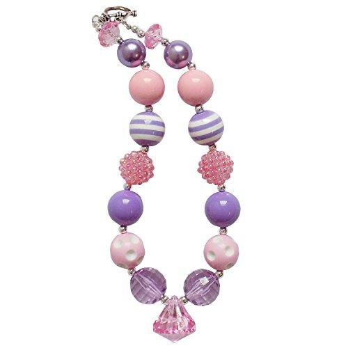 So Sydney Baby Toddler Girls Princess Chunky Bubblegum Beads Beaded Necklace (Pastel Princess Pink & (Girls Beaded Necklace)