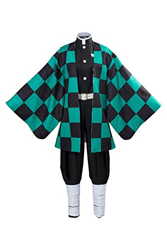 Sinastar Adult Kamado Tanjirou Tomioka Giyuu Cosplay Costume Outfit Halloween Dress Up Party Uniform Suit Green -
