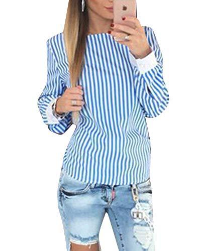 di Farfalla Shirt Blusa Tops Camicie Camicetta Vintage Primaverile Blau A Donna Slim Manica Mode A Elegante Fit Bendare V Marca Autunno Casual Senza Bluse Rotondo Righe Collo Schienale Cravatta Lunga 8q8fSxwpr