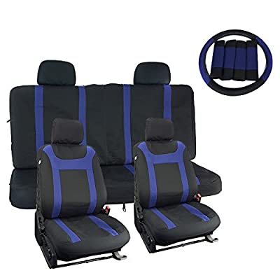 APZONA 17pc Mesh Farbic Bucket Seat Covers Universal Full Set