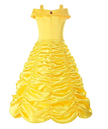 Butterfly Brooch Dress (ReliBeauty Little Girls Layered Princess Belle Costume Dress up, Yellow, 3T/110)