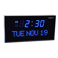 Ivation Big Oversized Digital Blue LED Calendar Clock with Day and Date - Shelf or Wall Mount (22 inches - Blue LED)