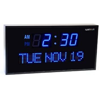 Amazoncom Ivation Big Oversized Digital Blue LED Calendar Clock