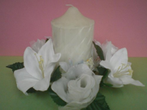 - 3 Candle Rings White Rose & Lily Center Pieces Artificial Silk Flower 693WT