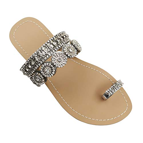 Mayou Flat Sandals for Women Flip Flops with Clip Toe Ring Rhinestone Crystal Jeweled Sandal Shoes for Summer Beach Oceanside Holiday Outdoor (8 M US, Sliver) -