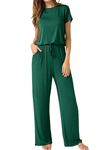 - LAINAB Womens Casual Short Sleeve O Neck Wide Legs Playsuits Jumpsuits Green S