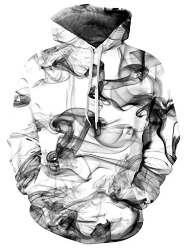 TUONROAD 3D Print Cool Graphic Hoodies White Grey Black Smoky Smoke-Filled Smoggy Big and Tall Funny Creative Pullover Autumn Causal Hooded Sweatshirts with Adjustable Drawstring Big Pocket -