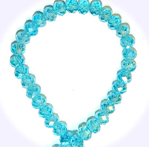 New Light Teal Blue AB 6mm Rondelle Faceted Cut Crystal Glass Jewelry-Making Beads 16-inch DIY Craft Supplies for Handmade Bracelet Necklace