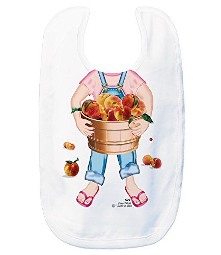 Just Add A Kid Baby Girl's Peaches Girl 629 Baby Bib 0-6 Months White