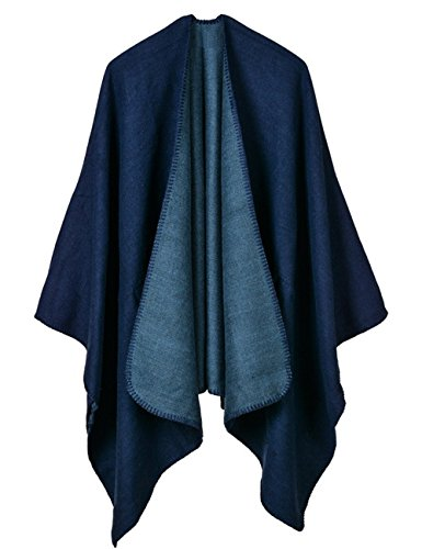 Looseplus Women's Winter Open Front Cashmere Oversized Wrap Poncho Cape Cardigans