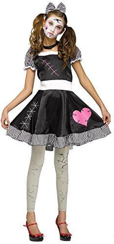 UHC Teen Girl's Broken Doll Scary Theme Party Fancy Dress Halloween Costume, Teen (0-9)