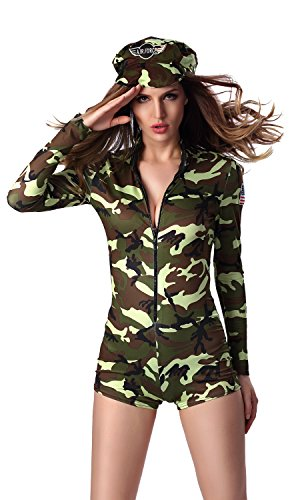 Woman Police Officer Uniform (Mumentfienlis Womens Police Officer Uniform Carnival Halloween Cosplay Costume Size M Green)
