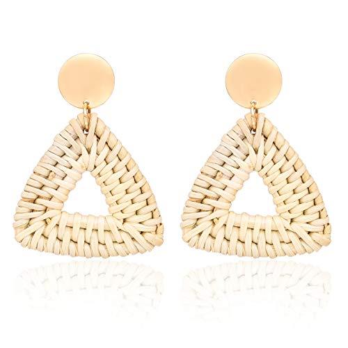CEALXHENY Rattan Earrings for Women Handmade Straw Wicker Braid Drop Dangle Earrings Lightweight Geometric Statement Earrings (C Triangle)