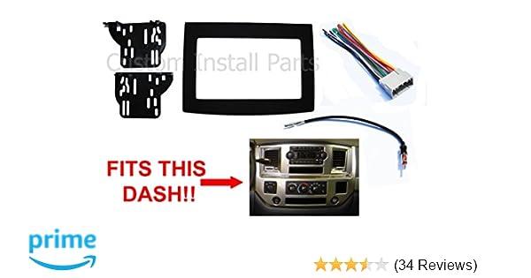 amazon com black dodge ram radio stereo double din dash install kit rh amazon com