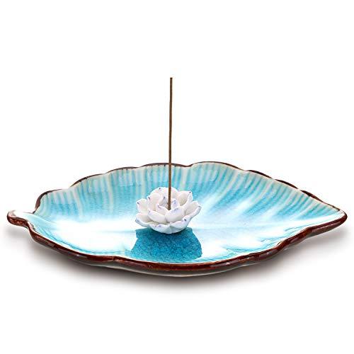 Norme Incense Stick Burner Holder with Ash Catcher Flower Ceramic Incense Burner Holder with Tray for Home Decoration (Color 2)
