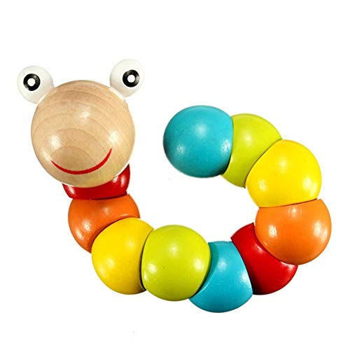 bromrefulgenc Wooden Colorful Caterpillar Grasping Twisting Worm Insert Puzzle Educational Toy