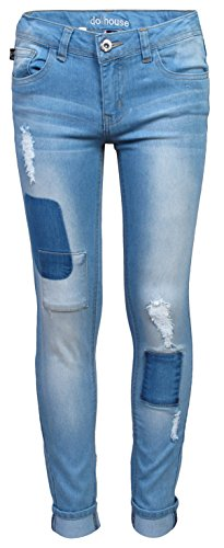 'dollhouse Girls\' Denim Jeans with Rips, Patches & Whiskers, Light w/ Whiskers, Size 14'