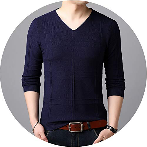 Ting room New 2019 Sweaters Men Autumn Knitted Simply Pullover Men Casual V-Neck Long Sleeve Gray Sweater,258173,XL
