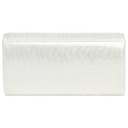 Evening Ladies The Flap On With Clutch Bag Glitter elegant Ta399 Gathers White Caspar Small Fwqfpq