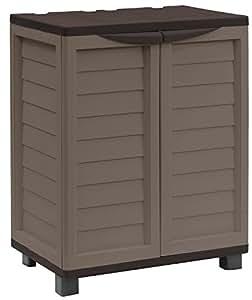 Starplast Cabinet with 2 Shelves, Mocha/Brown