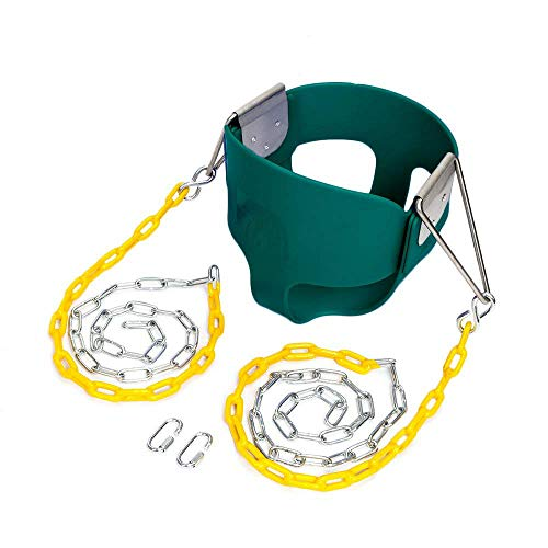 JOYMOR Outdoor High Back Full Bucket Toddler Swing Seat with Plastic Coated Chain for Kids (Green)