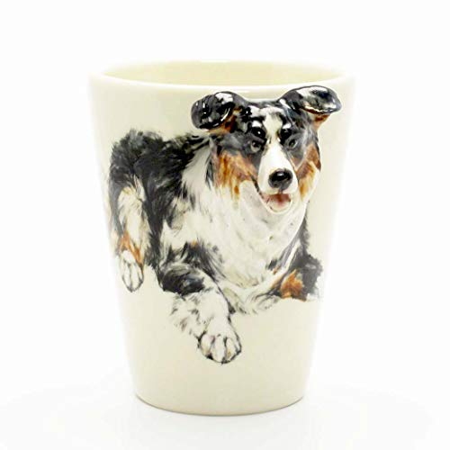 Tri Color Border Collie Dog 00010 Mug Ceramic Coffee Cup Original hand sculpt and hand paint Mug Spceial Gift for Dog lovers