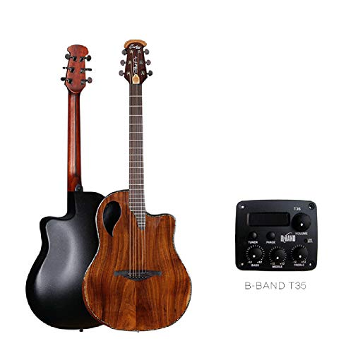 Round Back Sound Hole Grape Hole Guitar New 41 Inch Single Board Acoustic Guitar Acacia Wood Panel with Pickup