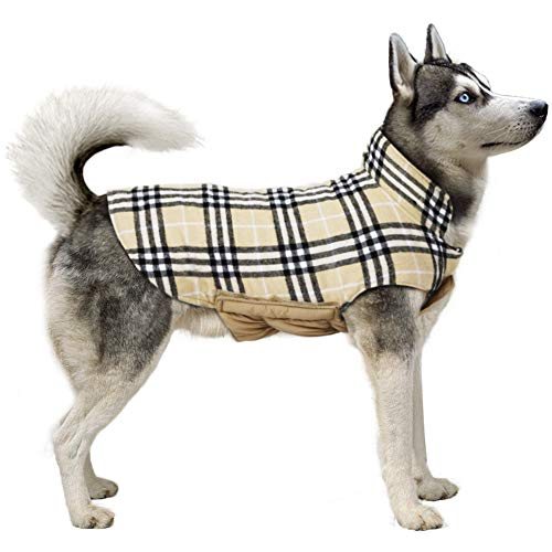 TPYQdirect Winter Coats for Dogs - Dog Cold Weather Coats - Windproof Waterproof Dog Jacket with Padded Collar - Reversible Plaid Dog Sweaters for Medium Large Size Dogs, Beige XL (Hoodie Flannel Reversible)