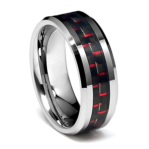 Wellingsale 8MM Luxe Series Comfort Fit Wedding Band Ring with Sporty Red Carbon Fiber Accents and Diamond Beveled Edges in Polished Finish for Men and Women Size - 14