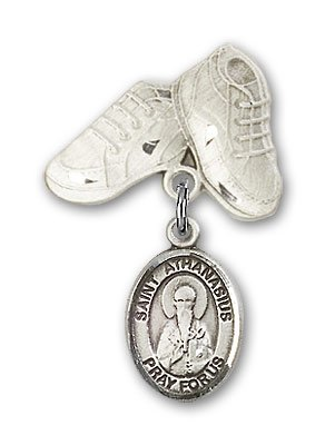 Sterling Silver Baby Badge with St. Athanasius Charm and Baby Boots Pin