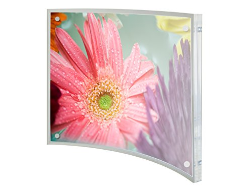(Relnin 5x7 Picture Frame Acrylic Magnetic Curved Clear Photo Frame for Family and Friends)