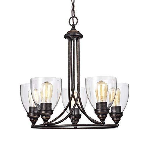 (Edvivi 5-Light Antique Copper Industrial Clear Glass Shade Chandelier Ceiling Fixture | Modern Farmhouse Lighting )