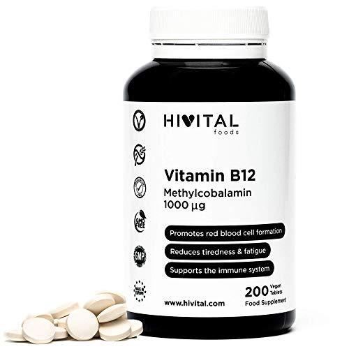 Vitamina B12 Metilcobalamina 1000 mcg   200 comprimidos (Más de 6 meses de suministro)   Contribuye a la formación de glóbulos rojos, reduce el cansancio y la fatiga, y mejora el sistema inmunológico.