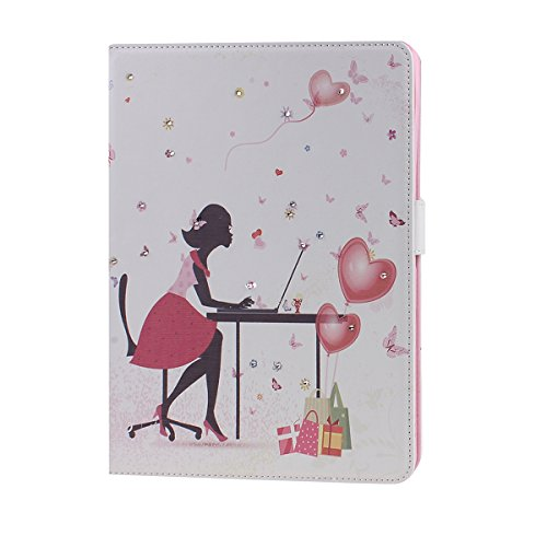 Daminfe iPad Mini 4 Leather Case, iPad Mini 4 Flip Case, Studded Glitter Bling Rhinestone Diamond Colorful Pink Love Heart Girl Pattern Pu Leather Stand Folio Book Style Case for Apple iPad Mini 4