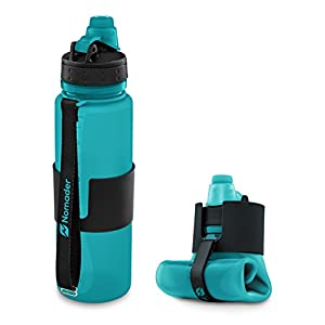 Nomader BPA Free Collapsible Sports Water Bottle - Foldable with Reusable Leak Proof Twist Cap for Travel Hiking Camping Outdoors and Gym - 22 oz (Aqua Blue)