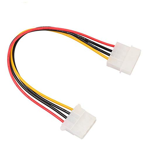 Aiyide 2 Pack Computer Molex 4 Pin Power Supply Extension Cable - Female to Male HDD IDE Computer Fan Internal Power Extension Cable 8 Inch