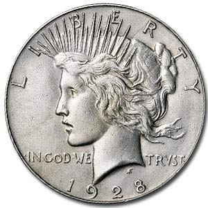 1928 S Peace Dollar AU (Cleaned &/or Dmgd) $1 About Uncirculated