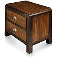HOMES: Inside + Out ioHOMES Cleo 2-Tone 2-Drawer Nightstand, Acacia/Walnut