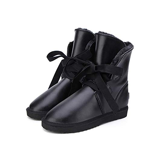 - Women Snow Boots Genuine Leather Waterproof Boots Winter Boots Warm Thick Women Boots,Black,5