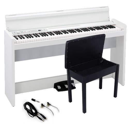 Korg LP-380 Contemporary Home Digital Piano - White Bundle with Furniture Bench, Headphones, and Austin Bazaar Polishing Cloth