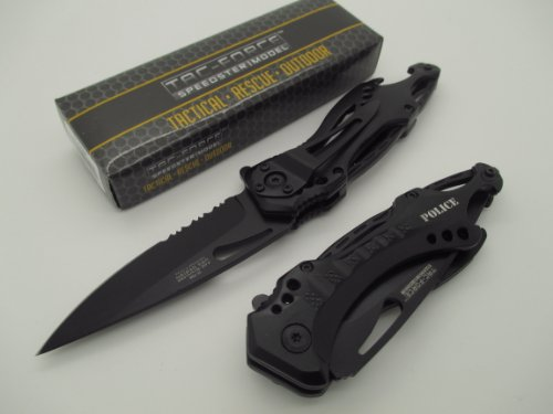 TAC-FORCE Assisted Opening Linerlock Belt Clip Police Design A/O Speed Rescue Glass Breaker Knife