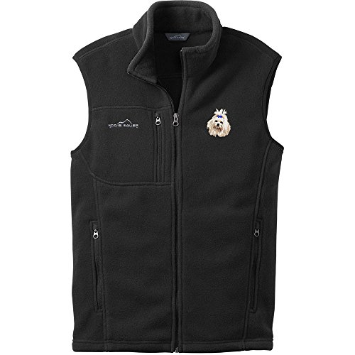Cherrybrook Dog Breed Embroidered Mens Eddie Bauer Vest - X-Large - Black - Maltese