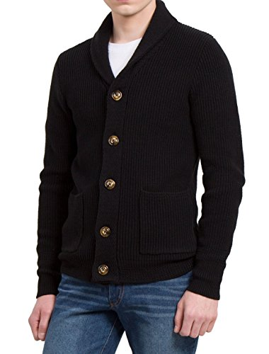 uxcell Men Shawl Collar Pockets Front Single Breasted Cardigan Large Black
